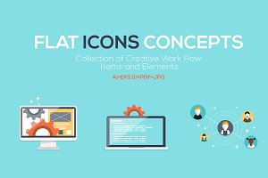 Set of Flat Design Concepts Icons