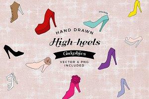 Hand-drawn high heels illustration