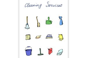 cleaning services doodle icon set