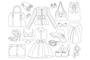 Lady clothes and accessories