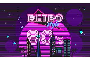 Retro Style 80s Disco Design Neon