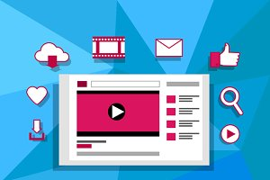 Viral Video Banner Flat Design