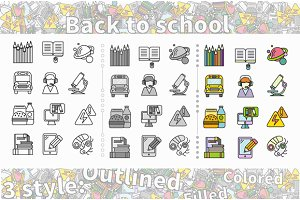 Set of Icon Back to School