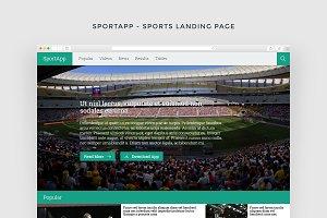 SportApp - Landing Page + FREE PSD