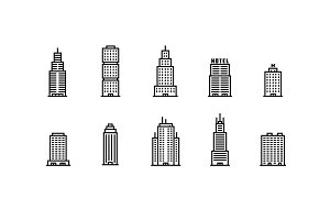 20 Outline Building Icons