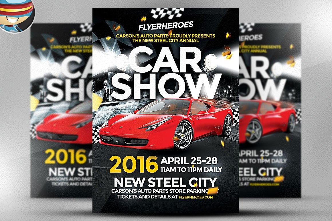 car show flyer template flyer templates creative market. Black Bedroom Furniture Sets. Home Design Ideas