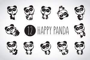 Happy panda (2 sets + 4 pattern)