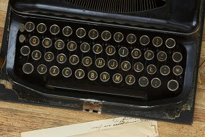 typewriter with aged page