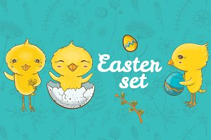 Easter cute vector set