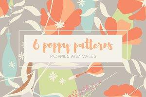 6 Poppy Seamless Patterns