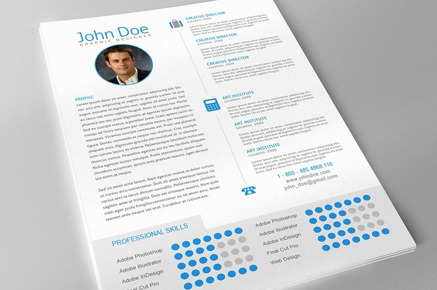 professional resume cover letter resume templates creative market - Adobe Resume Template
