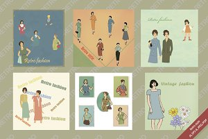 Set of illustrations, retro style