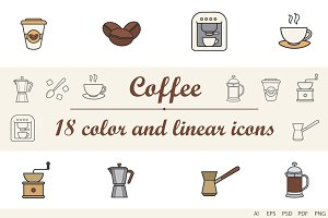 Coffee linear and color 18 icons