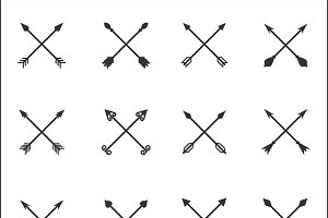 Crossed Arrows Vector Set
