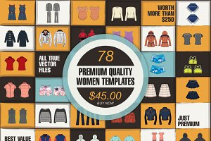 Bundle of 78 Women Vector Templates!