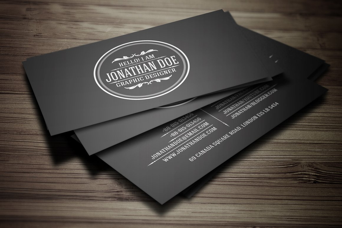 Vintage business card business card templates creative market reheart Image collections