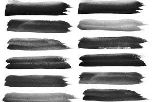 black watercolor brush strokes