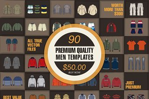 Bundle of 90 Men Vector Templates!