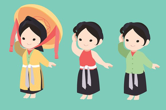 Vietnamese Traditional Dress Illustrations Creative Market