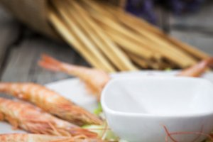 Several shrimps on plate served