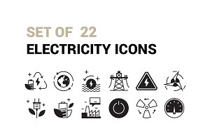 Set of 22 Electricity Icons
