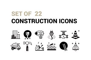 Set Of 22 Construction icons.