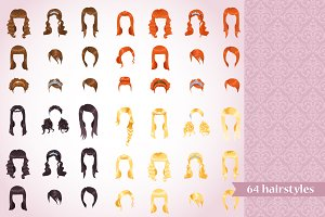 Vector set of female hairstyles