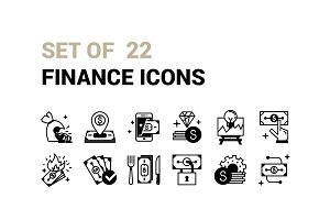 Set of 22 Finance Icons.