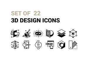 Set of 22 3D Design Icons.