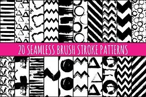 Hand Painted Brush Seamless Patterns