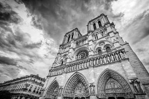 Notre Dame Cathedral, black & white.