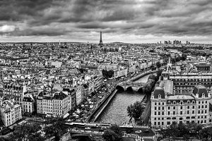 Paris panorama in black and white.