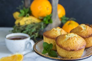 Fruit muffins  from oranges, mint