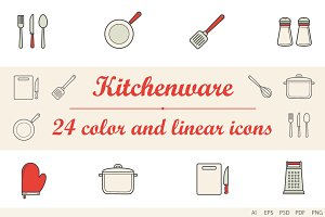 Kitchenware colorlinear icons 24