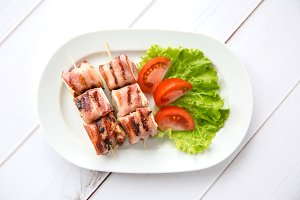 Brie cheese baked in bacon