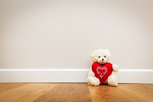 Teddy bear with big red heart.