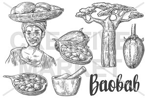 African woman carries basket baobab