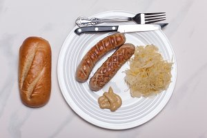 Grilled bratwurst with sauerkraut