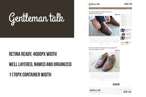 Gentleman PSD retina blog template