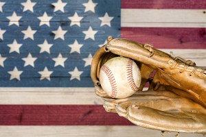 Good Old Baseball and Mitt