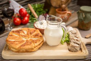 Pies, meat and dairy products