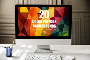 20 Color Polygon Backgrounds