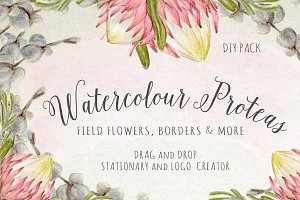 Watercolour Protea Flower DIY Pack