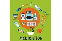 Medication flat icons