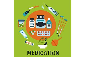 Medication flat icons