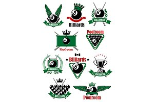 Billiards sport game heraldic icons