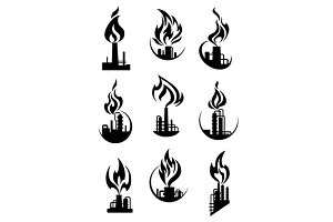 Chemical plant and factory icons
