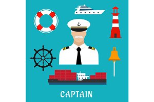 Captain profession flat icons