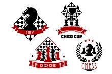 Chess game club and cup icons