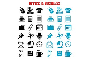 Flat business and office icons set